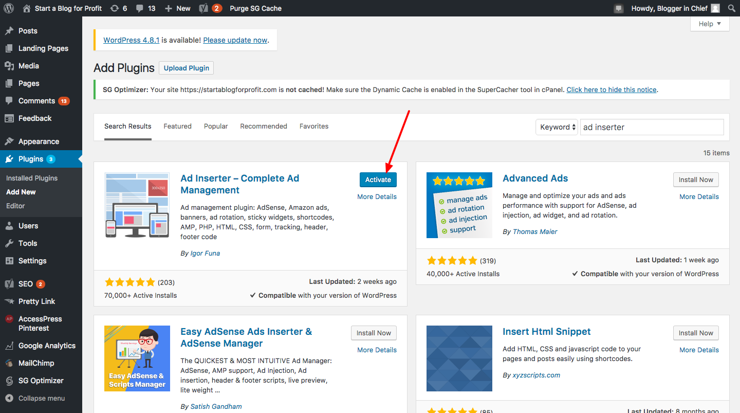 How to Automatically Add Affiliate Disclosure to Every Blog Post - Activate plugin