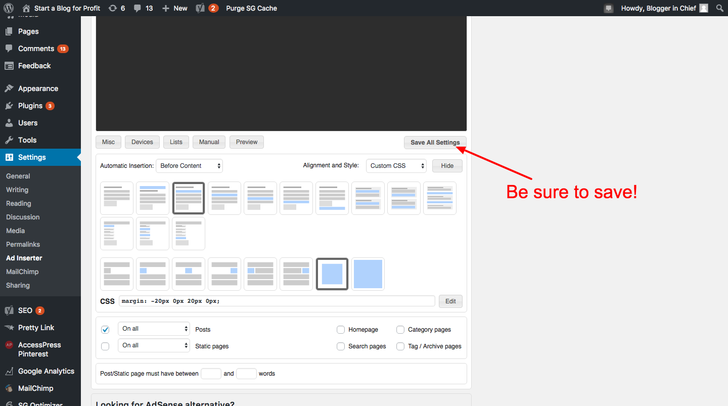 How to Automatically Add Affiliate Disclosure to Every Blog Post - Click save
