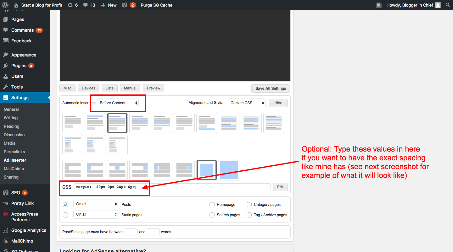 How to Automatically Add Affiliate Disclosure to Every Blog Post - Edit CSS and click Before Content