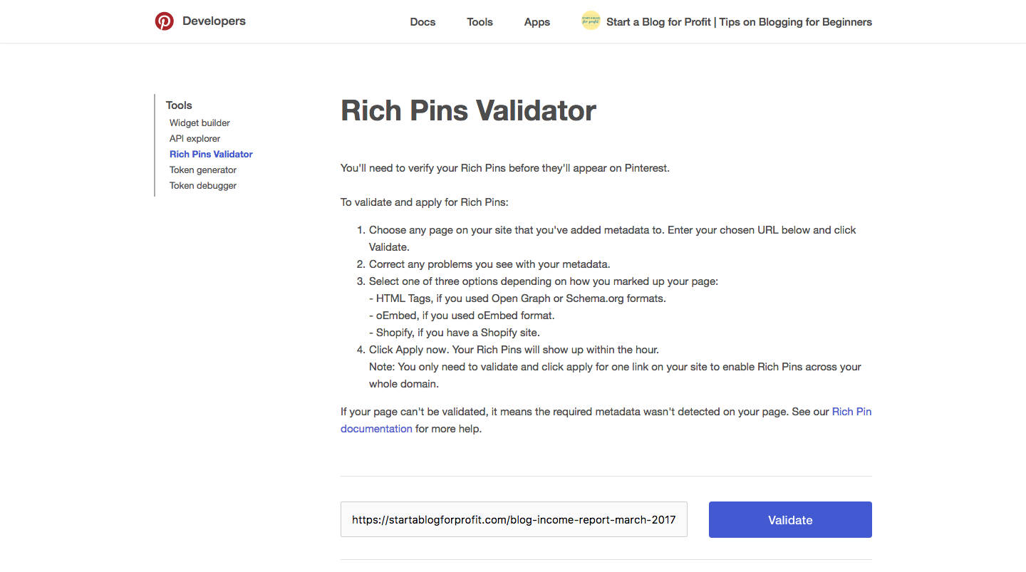 How to Get Rich Pins on Pinterest Rich Pin Validator
