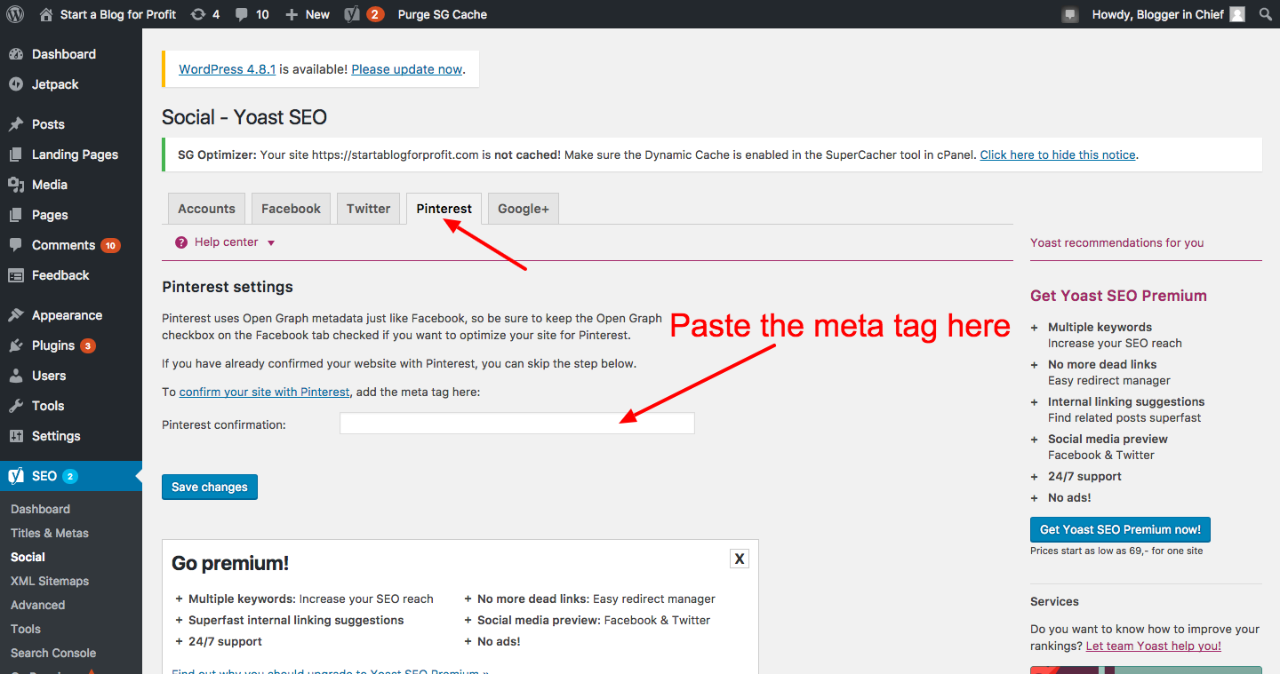 How to Verify a Website on Pinterest - Paste meta tag in Yoast SEO