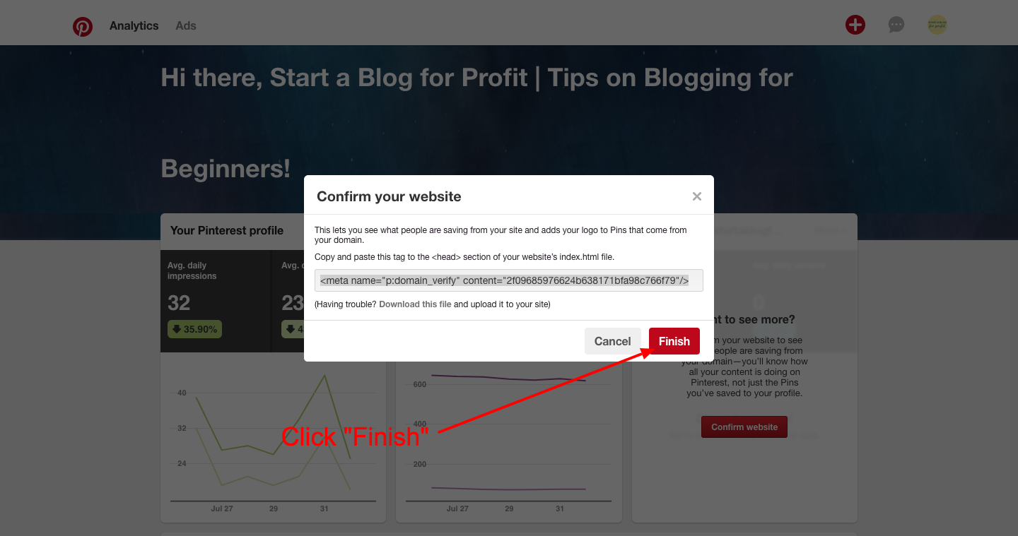 How to Verify a Website on Pinterest - click finish on analytics dashboard